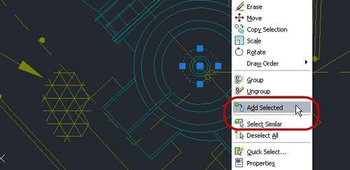 AutoCAD LT: Samantapaisten objektien valinta ja valittujen objektien lisääminen.