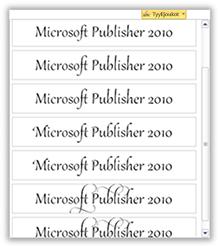 Esimerkkejä Publisher 2010:n kirjoitustyyleistä
