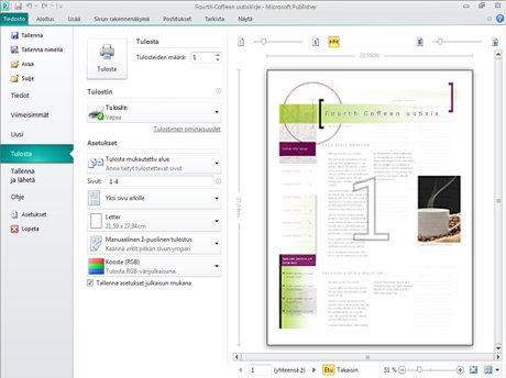 Voit käyttää asettelutyökaluja ja mukautettavia tulostusasetuksia sisältävää koko sivun esikatselua