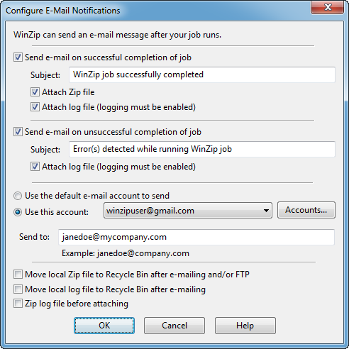 WinZip 15 Pro backup-to-email support