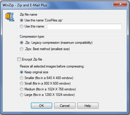 WinZip 15 Zip & Email image resizer
