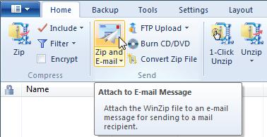 WinZip 15 Zip & Email menu option